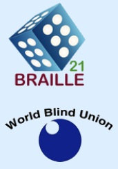 logotipos do congresso Braille XXI e da União Mundial de cegos